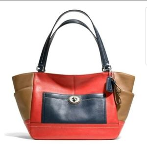 Coach Park Carrie Colorblock Leather Bag Red